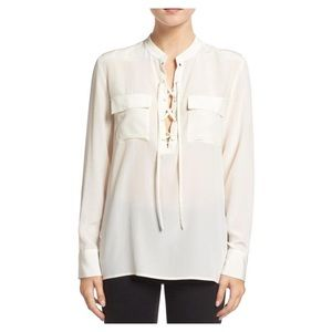 Madewell Ivory Monroe Lace-up Blouse